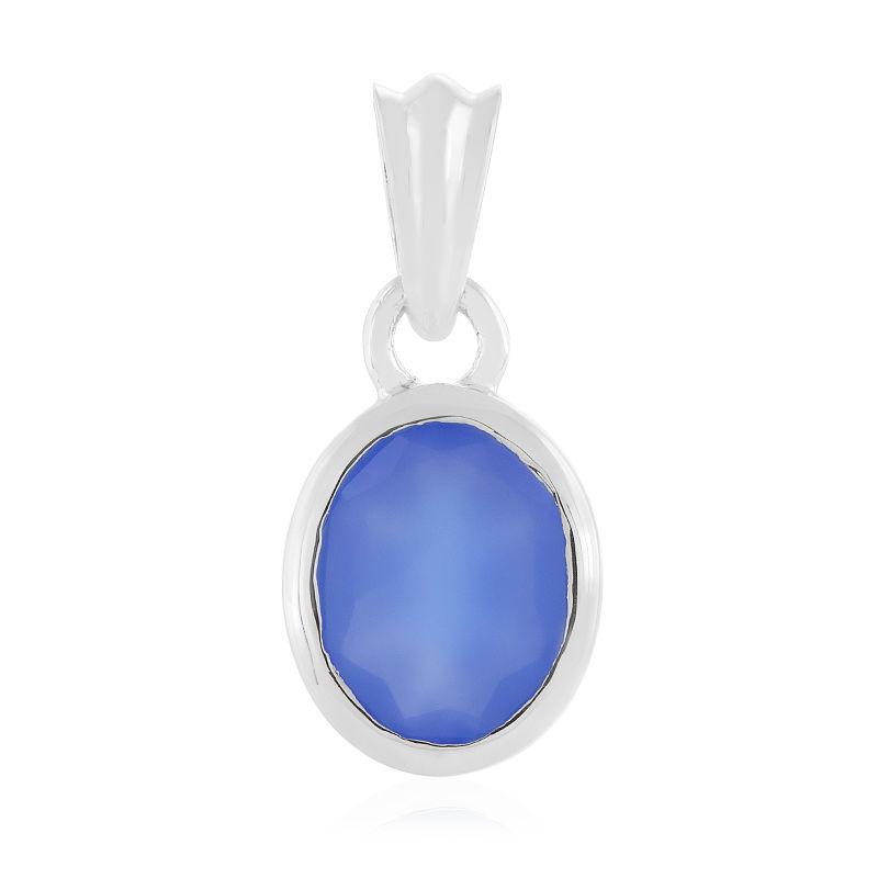 Nouveau Argent Sterling 925 Avec Bleu calcédoine ovale pendentif 36 mm H