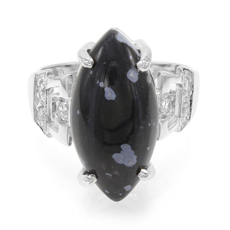 bague or obsidienne