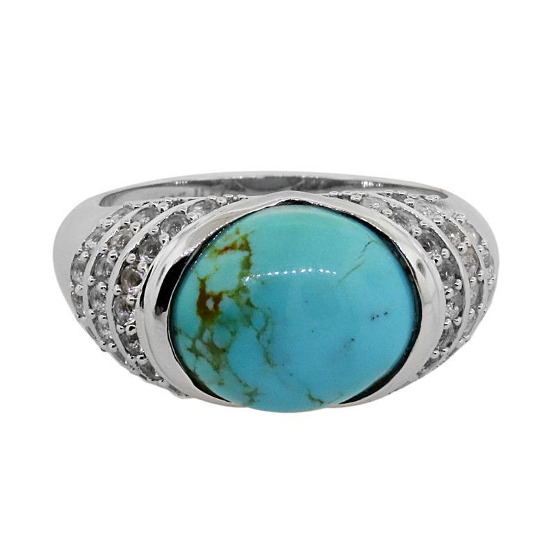 Bague en argent et Turquoise de Kingman 3949IP | Juwelo