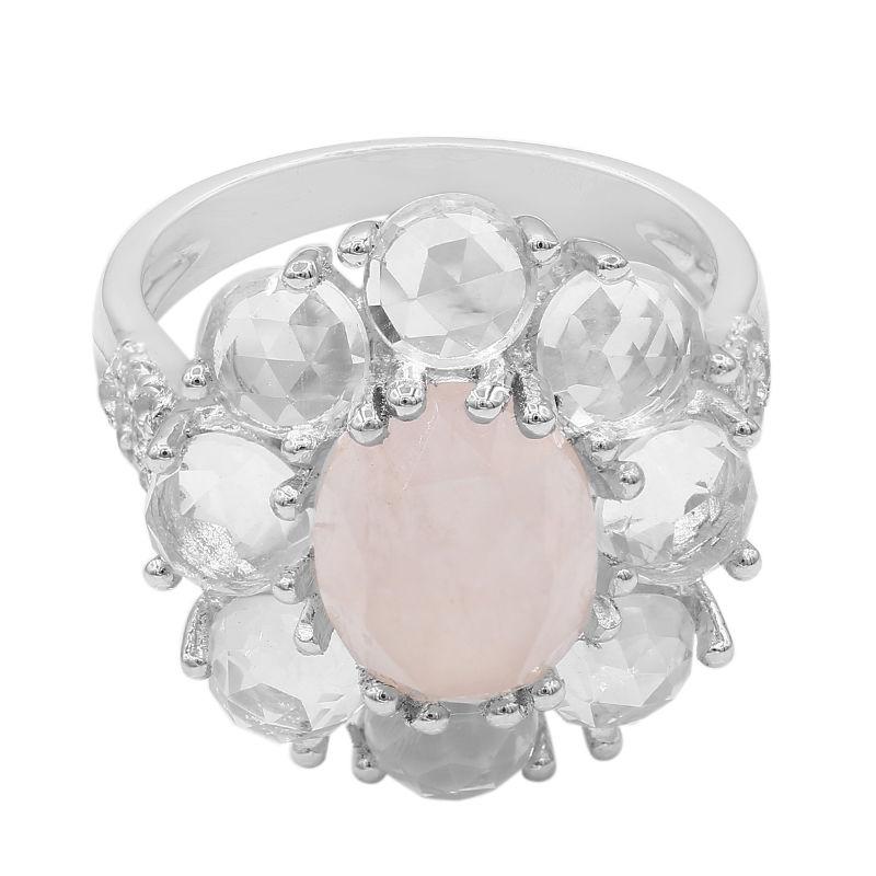 bague en argent avec quartz rose