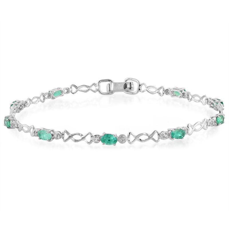 comment trouver pour toute la famille style limité Bracelet en argent et Emeraude 0,18   Juwelo Bijouterie