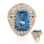 Bague en or et Topaze bleu de Londres (Dallas Prince Designs)