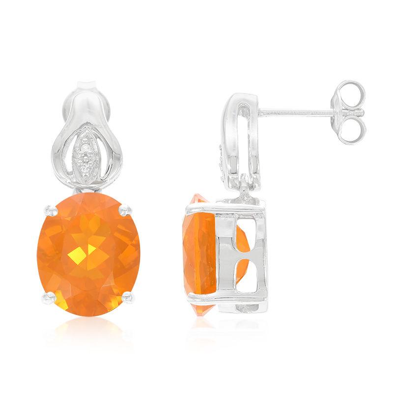 Boucles d/'oreilles  en argent et Opale de Feu