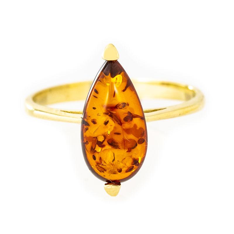 bague femme or et ambre